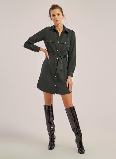 Monamoda Metal Düğmeli Tencel Gömlek Elbise Petrol